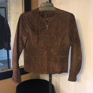 NWOT Shape Fx brown suede leather jacket